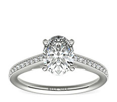 Riviera Pavé Heirloom Cathedral Diamond Engagement Ring in 14k White Gold (1/10 ct. tw.)
